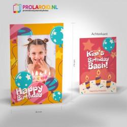 Verjaardagskaart Prolaroid fotos op verjaardagsfeest
