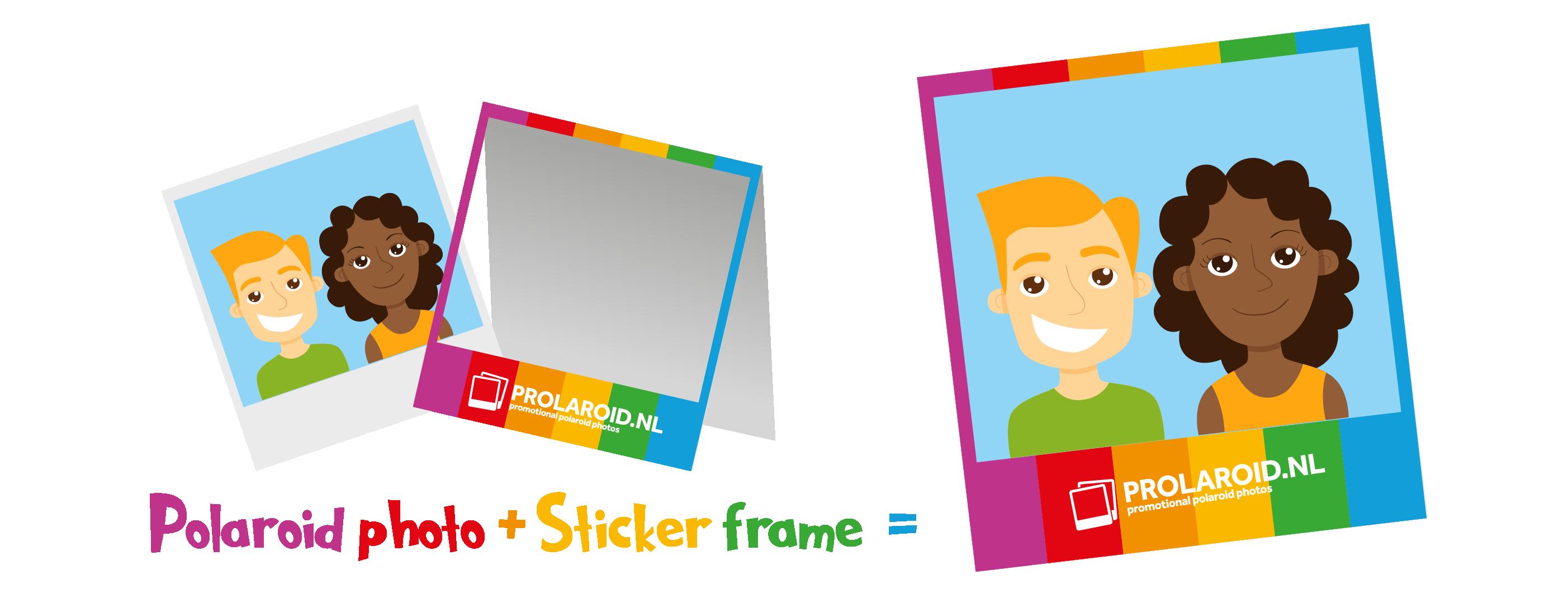 Polaroids met sticker frame